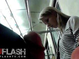 Flash Cum for Blonde Amateur sexy Teen in Public Train