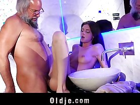 Young and horny therapist hard fucking beard old man into the bathroom