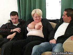 Hot threesome session with boozed old granny