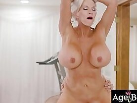 Watch an intense fuck massage sex with this mature masseuse Sally D Angelo and her handsome client Jake Adams