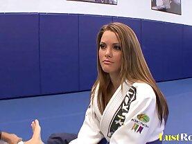 Sexy Megan Fenox seduces her wrestling coach