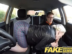 Fake Driving School big tits wet pussy student has creampie and squirts